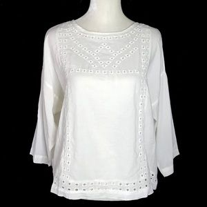 NWT Old Navy square embroidered cotton 3/4 sleeve